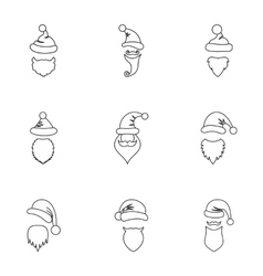 Christmas Santa Claus icons set outline style vector image vector image
