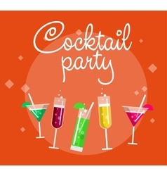 Cocktail party summer poster with alcohol drinks vector image