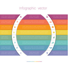 Colorful strips and white semicircles for text 8 vector