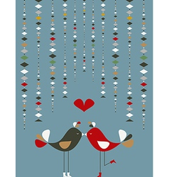 Cute social birds love vector image