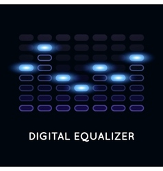 Digital dark equalizer with blue light vector