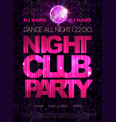 Disco background Disco poster Night club dance vector image vector image
