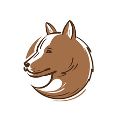 Dog logo or icon animal pet puppy wolf emblem vector