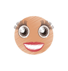 Drawing girl emoticon image vector