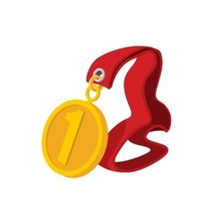First place medal on a red ribbon cartoon icon vector