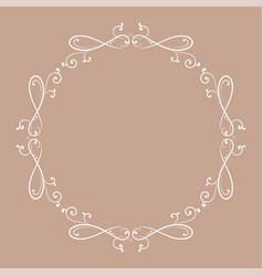 floral vintage round frame white decorative vector image