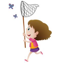 Girl catching butterflies with net vector
