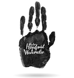 Hand drawn isolated black watercolor hand print vector
