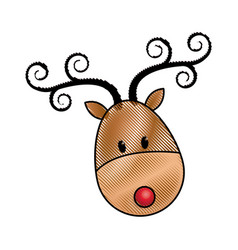 Happy cartoon christmas reindeer character vector