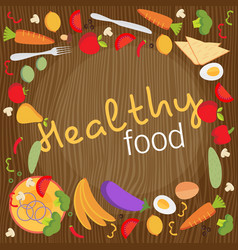 Healthy food flat objects fruits and vegetables vector