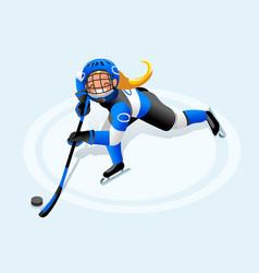 Hockey girl cartoon player vector