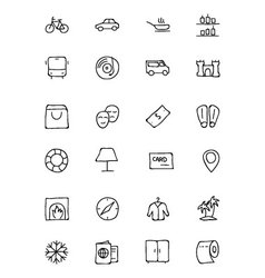 Hotel and restaurant doodle icons 5 vector