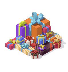 isometric gift boxes vector image