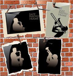 jazz - photo frames on brick wall vector image vector image