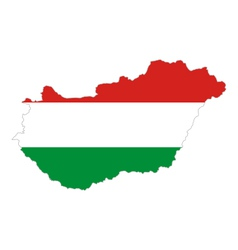 Map and flag of Hungary vector image vector image