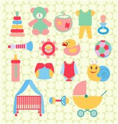 Newborn baby stuff icons set - vector image