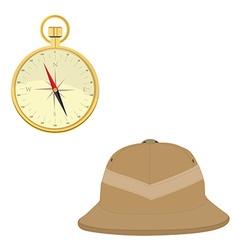 Safari hat and compass vector