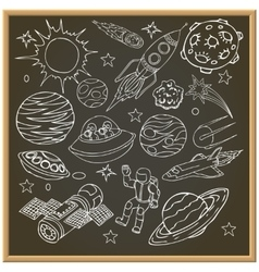 School chalk board with outer space doodles vector