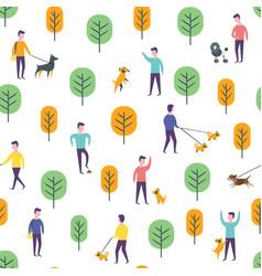 seamless park pattern dog walking people vector image