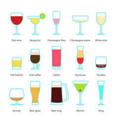 set of color drinks in stemware vector image vector image