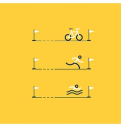 Set of sports icons for triathlon vector image vector image