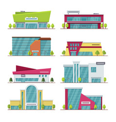 shopping center mall and supermarket modern flat vector image vector image