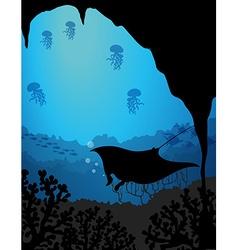 Silhouette underwater scene with stingray vector