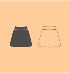 skirt dark grey set icon vector image