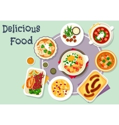 Snack dishes for lunch menu icon design vector