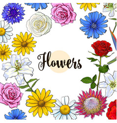 Square banner various flowers with round place for vector