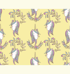 Unicorn rainbow seamless pattern vector