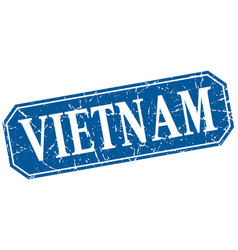 Vietnam blue square grunge retro style sign vector