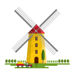 windmill isolated on white background vector image vector image