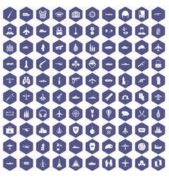 100 military resources icons hexagon purple vector