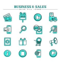 Business and sales blue fill icons set vector