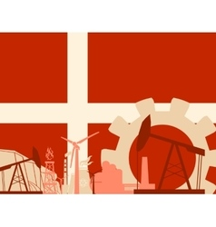 Energy and power icons set with denmark flag vector