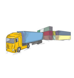 logistics sketchy sign with container truck vector image