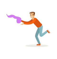 Young man in casual clothes dancing traditional vector