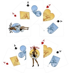 Four aces and afroamerican joker playing cards vector