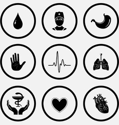Drop doctor stomach stop hand cardiogram lungs vector