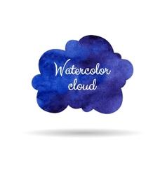 Blue watercolor cloud vector image