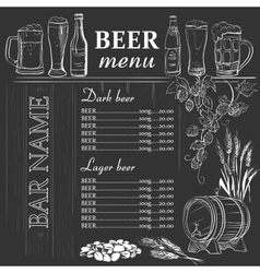 Beer menu hand drawn on chalkboard vector image