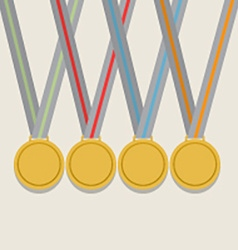 Many golden medals with colorful ribbon vector