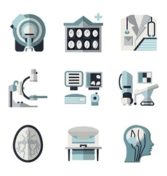 Flat color icons for ct scan mri vector