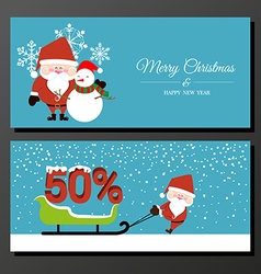 Abstract christmas banner with santa claus vector