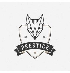 Vintage fox face line art logotype emblem symbol vector