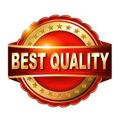 Best quality guarantee golden label with ribbon vector