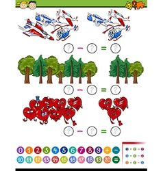 Cartoon math task for kids vector