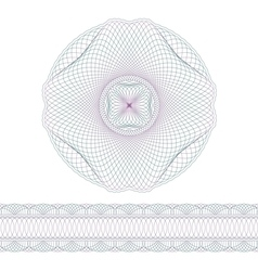 Decorative guilloche elements and border vector image