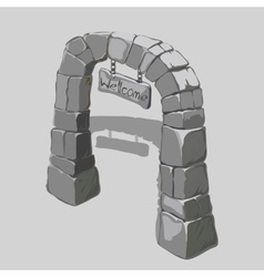 Ancient arch of grey blocks and welcome sign vector